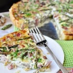 Springtime Asparagus Tart ~ with ham, mushrooms, Swiss, and a buttery crust   FiveHeartHome.com