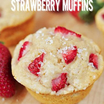 Whole Wheat Strawberry Muffins ~ tender, wholesome muffins with a burst of fresh strawberries in every bite | FiveHeartHome.com