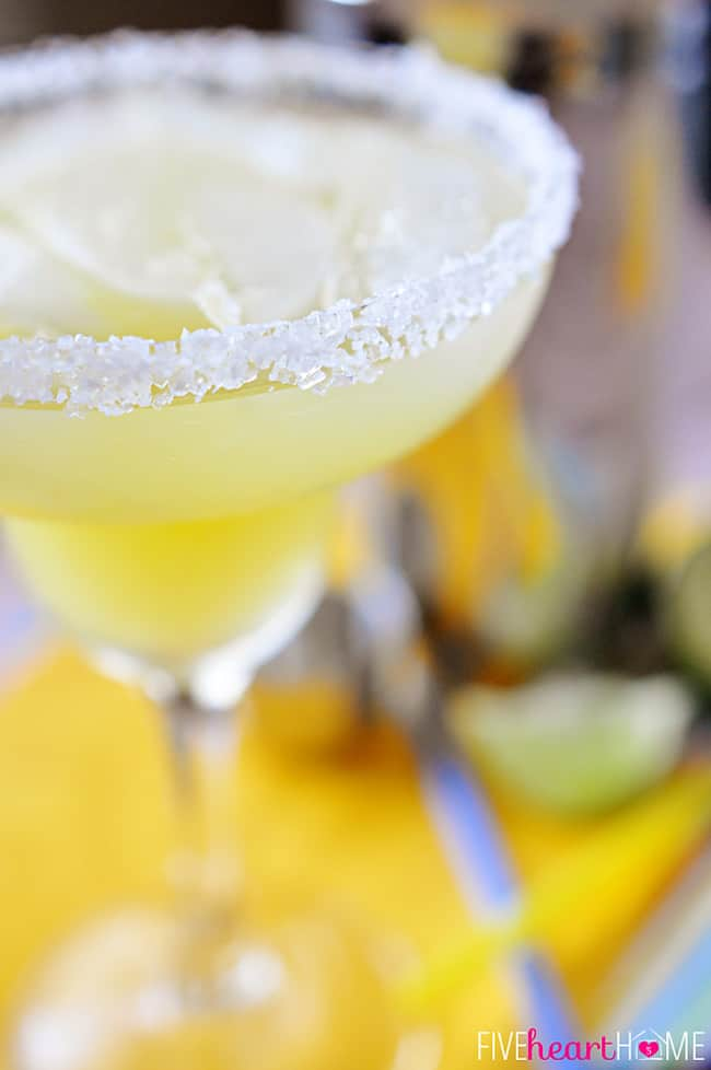 Fresh Pineapple Margaritas ~ made with fresh lime juice and pineapple purée, these are perfect for celebrating Cinco de Mayo | FiveHeartHome.com