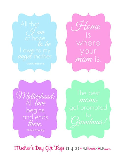 photo about Free Printable Mothers Day Tags identified as Moms Working day Present Tags: Free of charge Printables ~ Giving Mother