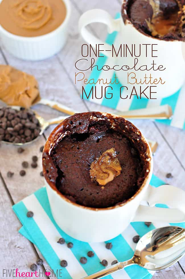 One-Minute Chocolate Peanut Butter Mug Cake Recipe ~ moist chocolate cake with a molten peanut butter center bakes up in a microwaved mug in just one minute! | FiveHeartHome.com