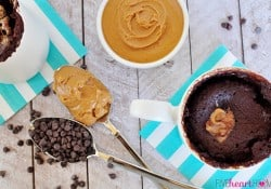One-Minute Chocolate Peanut Butter Mug Cake | FiveHeartHome.com