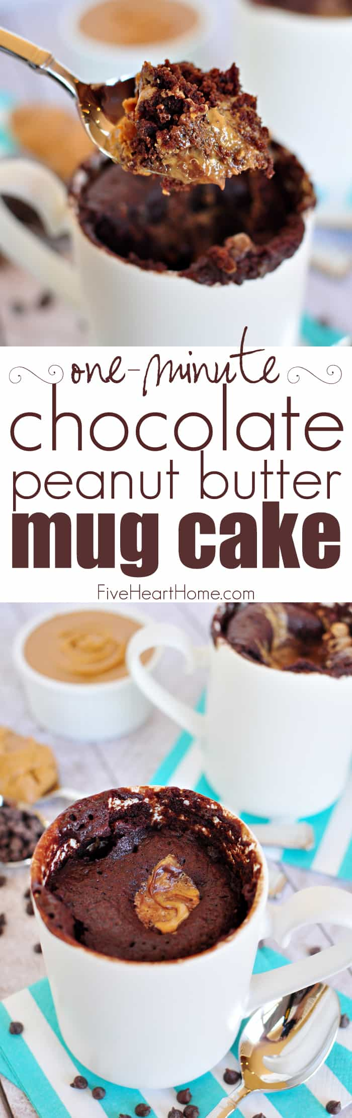 One-Minute Chocolate Peanut Butter Mug Cake ~ moist chocolate cake with a molten peanut butter center bakes up in a microwaved mug in just one minute! | FiveHeartHome.com via @fivehearthome