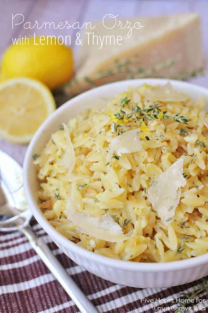 Parmesan Orzo with Lemon and Thyme - a perfect summer side dish! | LoveGrowsWild.com