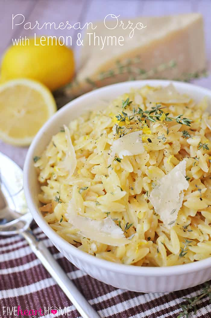 Parmesan Orzo with Lemon and Thyme ~ a perfect summer side dish! | FiveHeartHome.com
