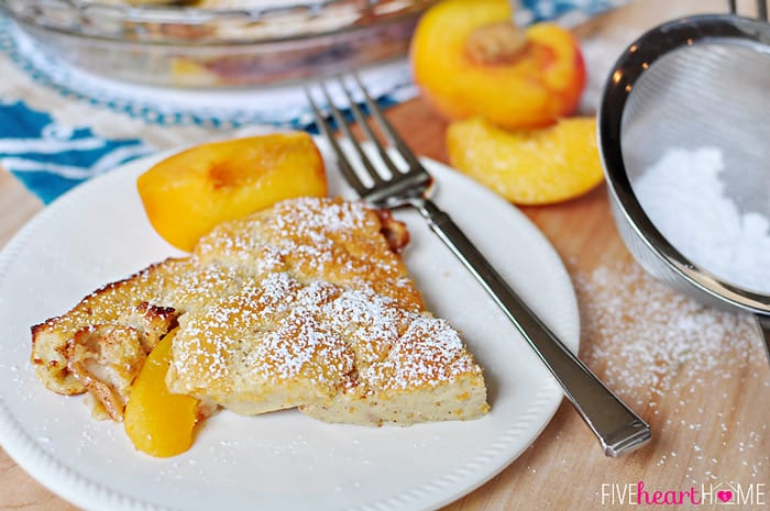 Peach German Pancake (Dutch Baby) ~ golden, puffy, and piping hot ...