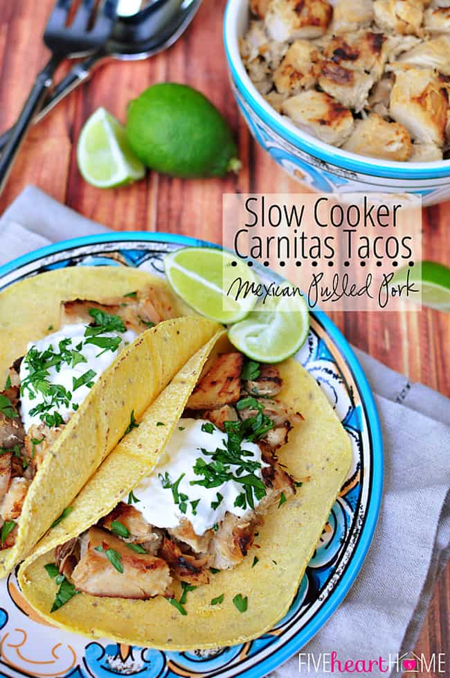 Slow Cooker Carnitas Tacos (or Mexican Pulled Pork) with Text Overlay