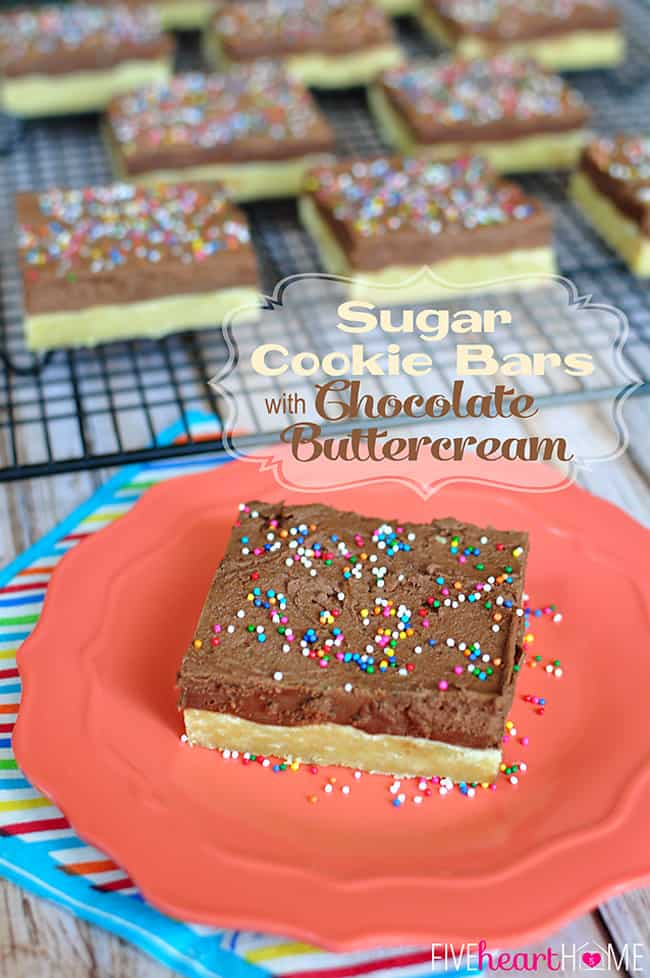 Sugar Cookie Bars with Chocolate Buttercream ~ bars are quicker to make than individual cookies, and decadent frosting puts them over the top! | FiveHeartHome.com