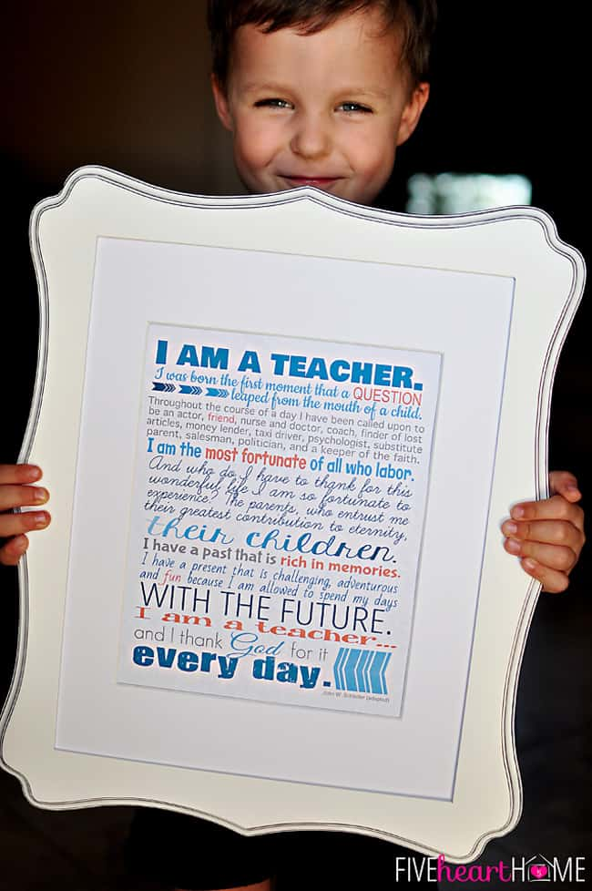 """Teacher Appreciation Free Printables ~ 8x10"""" print, note cards, and gift tags 
