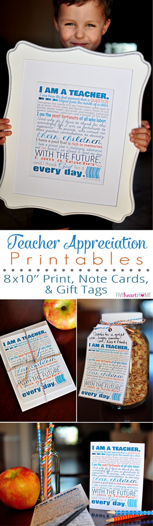 "Teacher Appreciation Free Printables ~ 8x10"" print, note cards, and gift tags"