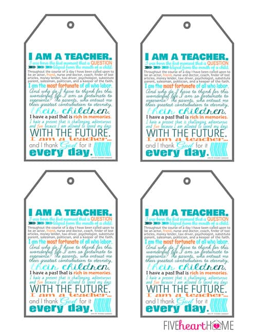 photograph regarding Free Printable Teacher Gift Tags called Instructor Appreciation Printables ~ 8x10\