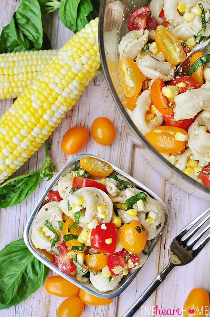 Tortellini Pasta Salad with Tomatoes, Basil, and Fresh Corn ~ a perfect summer side dish or light supper! | FiveHeartHome.com