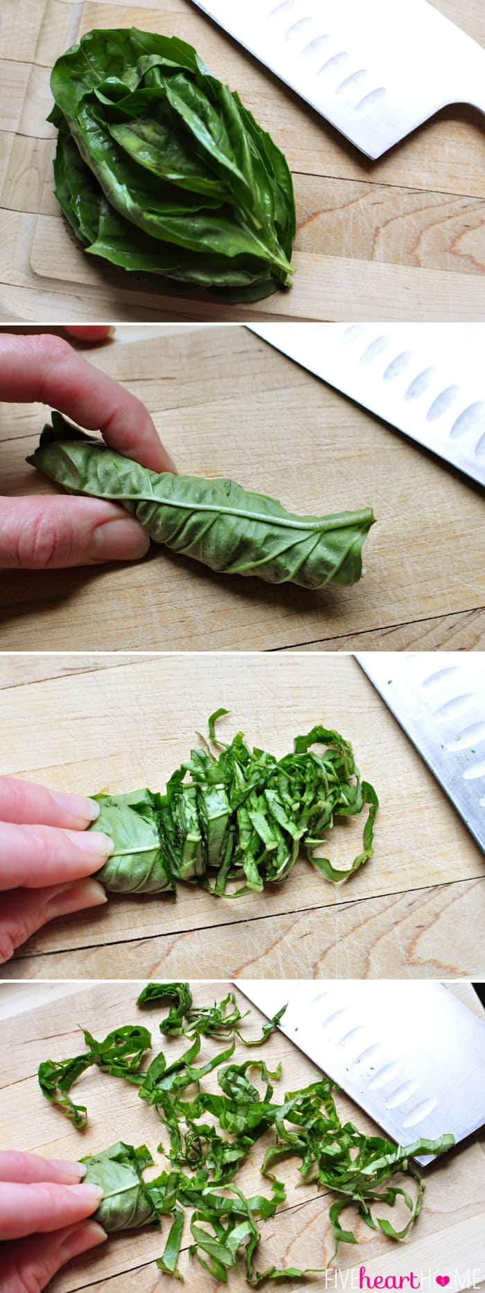 Step-by-step on how to Chiffonade Basil