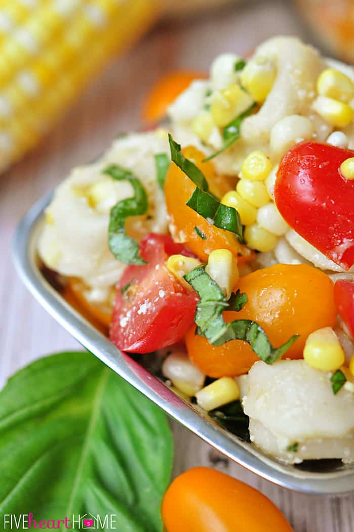 Tortellini Pasta Salad with Tomatoes, Basil, & Fresh Corn