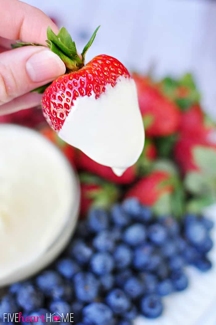 Strawberry Just Dipped in White Chocolate Cheesecake Fruit Dip
