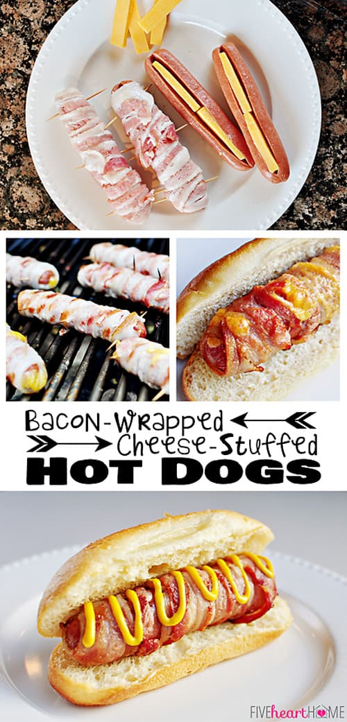 Bacon-Wrapped Cheese-Stuffed Hot Dogs ~ perfect for summer grilling or July 4th | FiveHeartHome.com