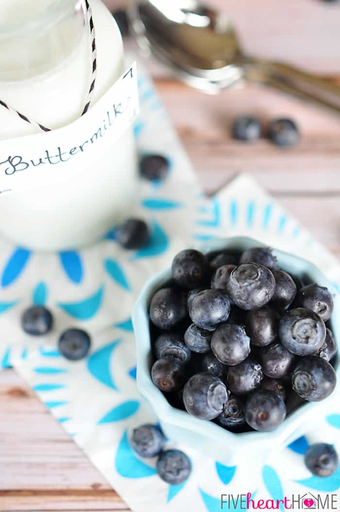 Blueberry Buttermilk Sherbet ~ four simple ingredients combine in this sweet and creamy frozen treat | FiveHeartHome.com