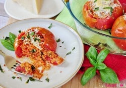 Caprese Quinoa Stuffed Tomatoes ~ a delicious new spin on a classic summer side dish! | FiveHeartHome.com