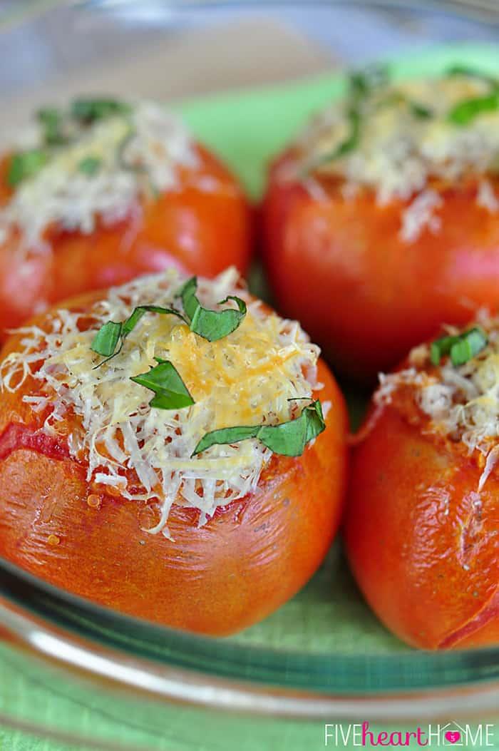 Close-up Showcasing Grated Parmesan and Basil Garnishes