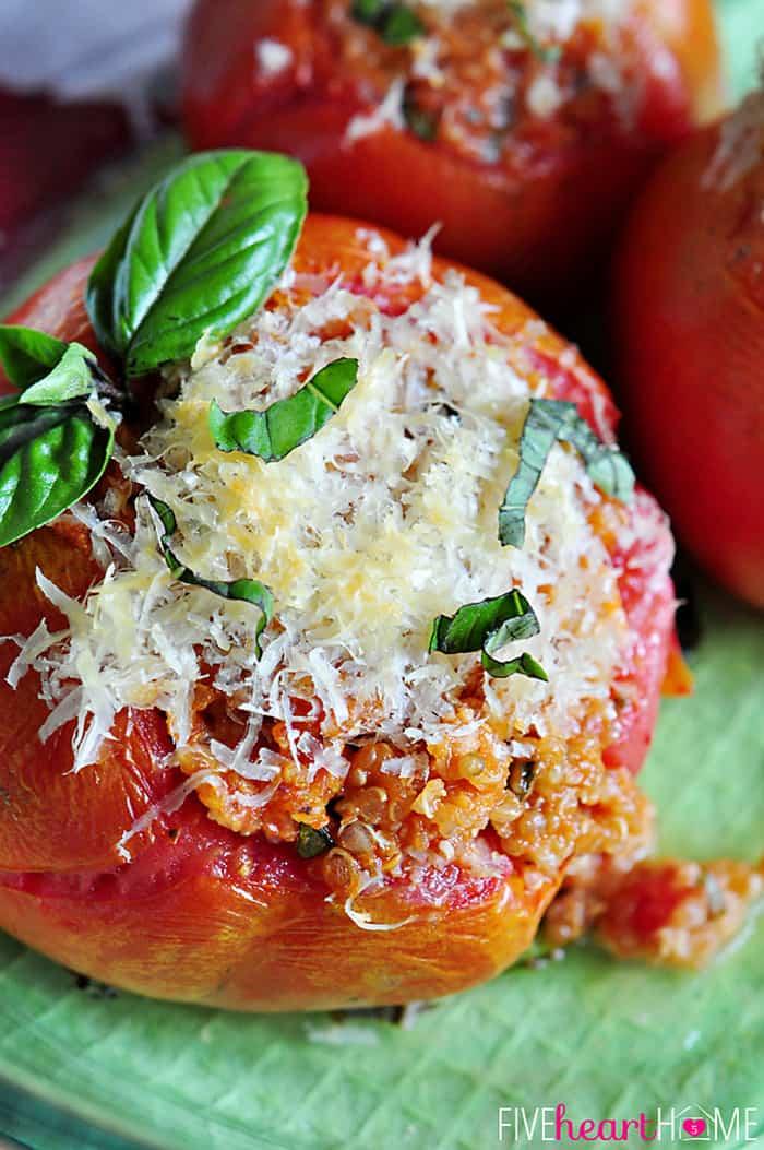 Close-Up of Caprese Quinoa Stuffed Tomatoes