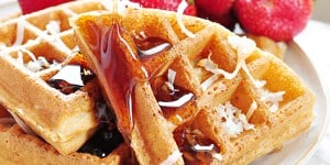 Dairy-Free Coconut Waffles ~ made with whole wheat pastry flour, coconut milk, coconut oil, and honey...tender, golden, and delicious! | FiveHeartHome.com
