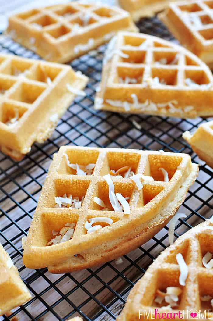 Dairy-Free Coconut Waffles on Cooling Rack