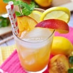 Glass of peach lemonade garnished with fresh peach wedge, lemon slice, sprig of mint, and two red and white paper straws