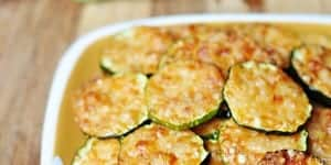 Baked Parmesan Zucchini Rounds ~ you're just 2 ingredients away from a quick and easy, delicious summer side dish! | FiveHeartHome.comParmesan Zucchini Rounds ~ you're just 2 ingredients away from a quick and easy, delicious summer side dish! | FiveHeartHome.com