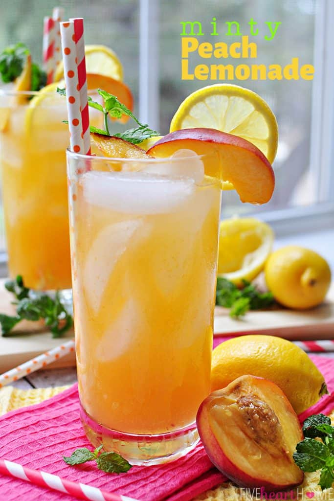 Minty Peach Lemonade in two glasses, garnished with lemon slice, peach wedge, sprig of mint, and red-and-white paper straws, with text overlay