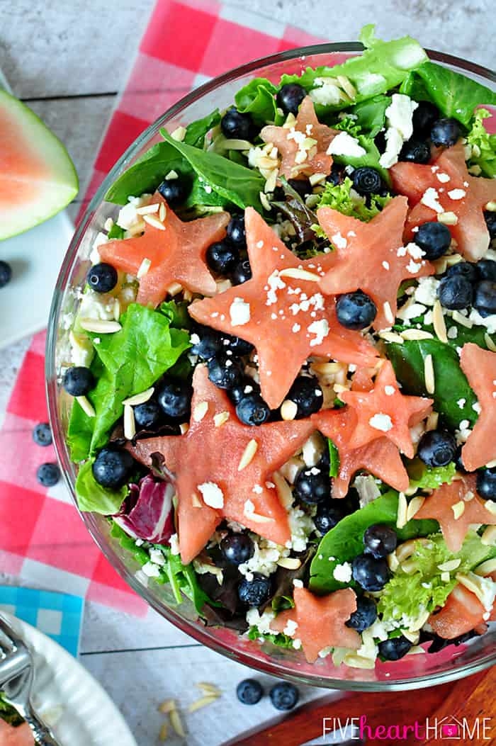 Red, White, and Blue Watermelon Salad with Watermelon Vinaigrette ~ a fruity summertime salad to celebrate the Fourth of July | FiveHeartHome.com