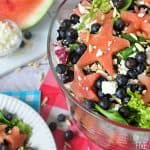 Red, White, and Blue Watermelon Salad with Watermelon Vinaigrette ~ a fruity summertime salad to celebrate the Fourth of July   FiveHeartHome.com