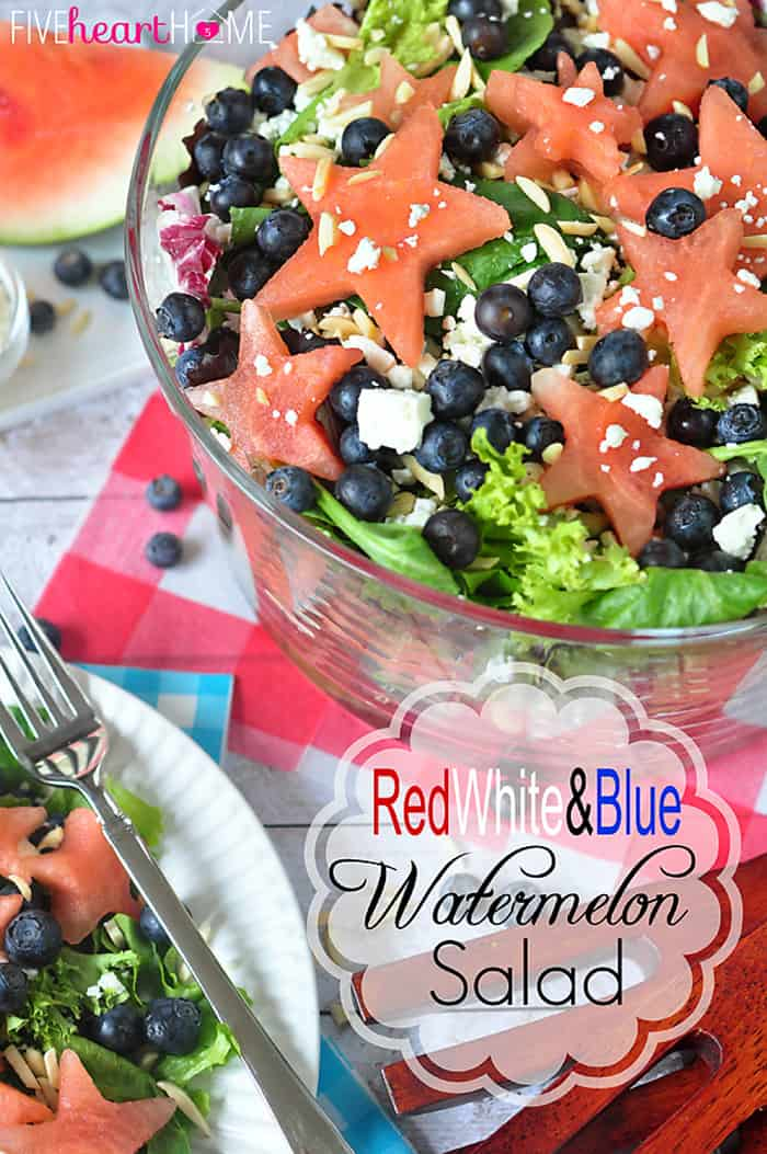 Red, White and Blue Watermelon Salad with Watermelon Vinaigrette ~ a fruity summertime salad to celebrate the Fourth of July | FiveHeartHome.com
