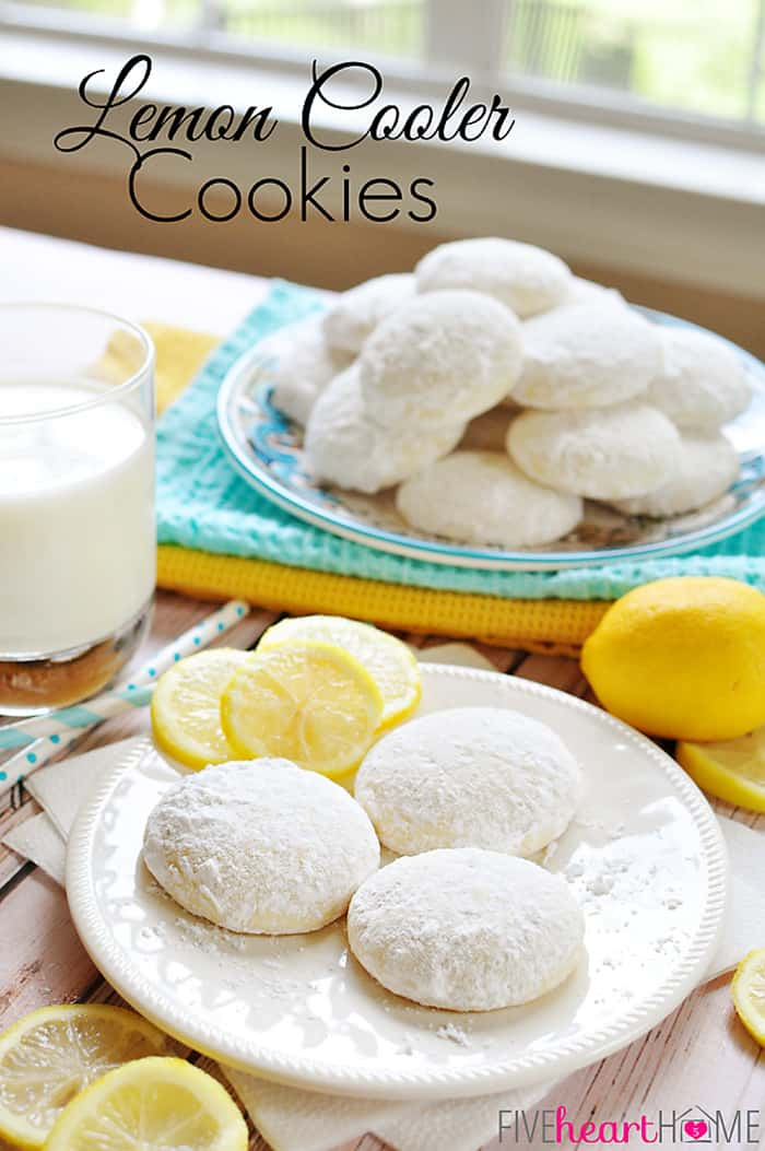 Lemon Cooler Cookies ~ bursting with fresh lemon juice, lemon zest, and real butter, and coated in lemon-infused powdered sugar | FiveHeartHome.com