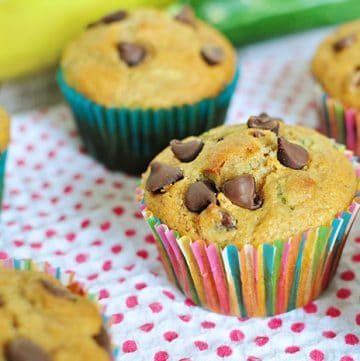 Whole Wheat Zucchini Banana Muffins