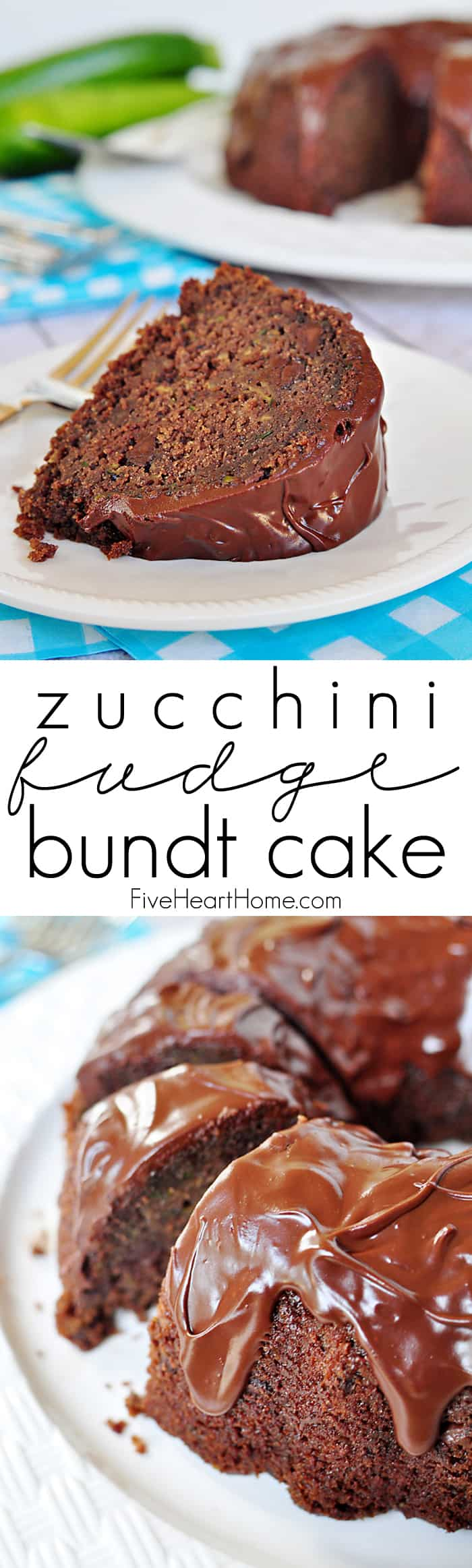 Zucchini Fudge Bundt Cake with Chocolate Glaze {OR} Chocolate Zucchini Bread ~ so moist and decadent, nobody will guess that it's hiding a pound of zucchini and whole wheat flour! | FiveHeartHome.com