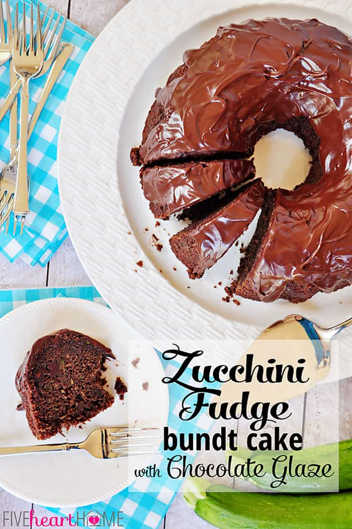 Zucchini Fudge Bundt Cake with Chocolate Glaze with Text Overlay