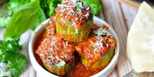 Zucchini Marinara ~ quick, easy side dish of sliced zucchini that's pan sauteed and then cooked until tender in marinara sauce, fresh herbs, and Parmesan | FiveHeartHome.com