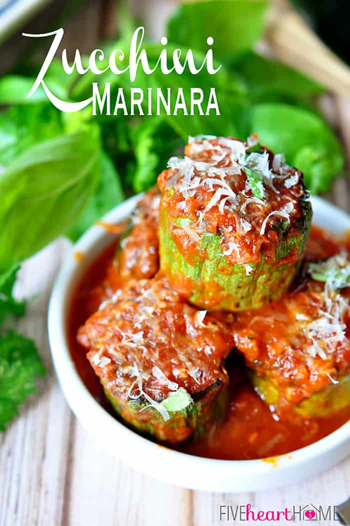 Zucchini Marinara ~ quick, easy side dish of sliced zucchini that's pan sauteed and then cooked until tender in marinara sauce, fresh herbs, and Parmesan. | FiveHeartHome.com