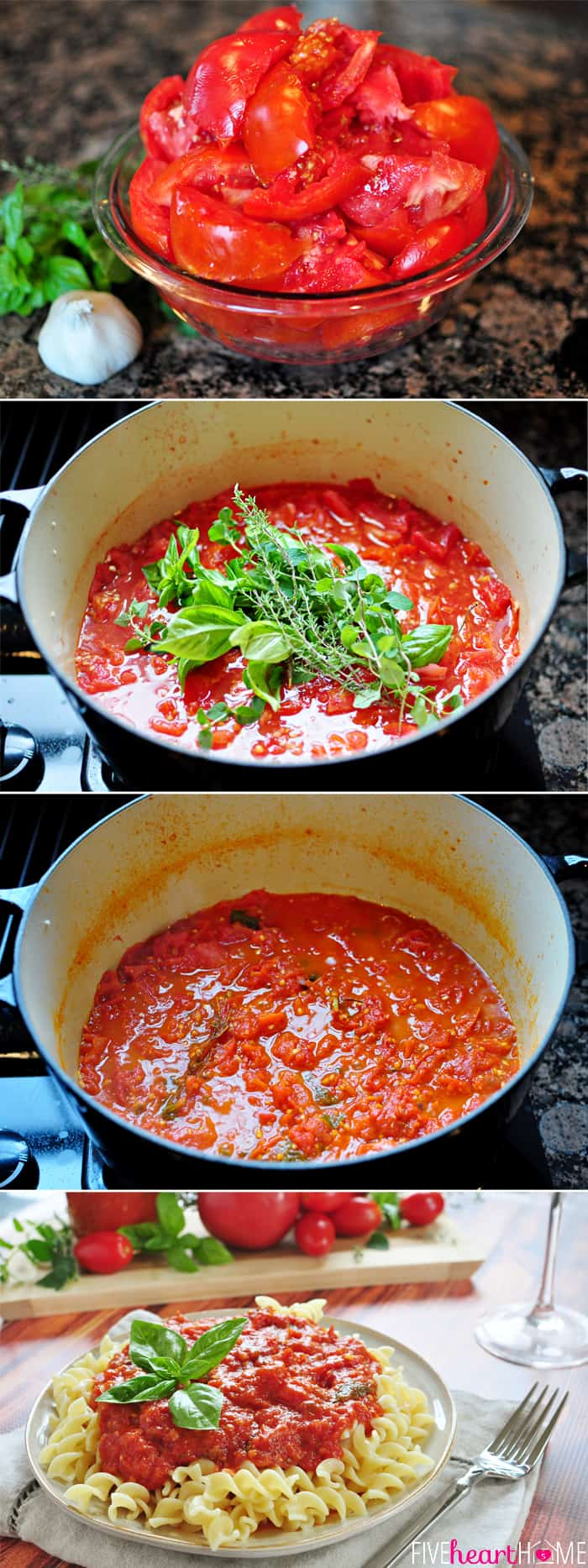 30-Minute Homemade Marinara ~ quick, flavorful sauce made with ripe tomatoes, fresh herbs, garlic and a touch of balsamic vinegar | FiveHeartHome.com