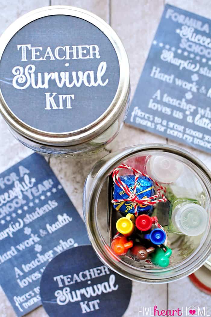 Back-to-School Teacher Survival Kit Mason Jar Gift ~ Free ...