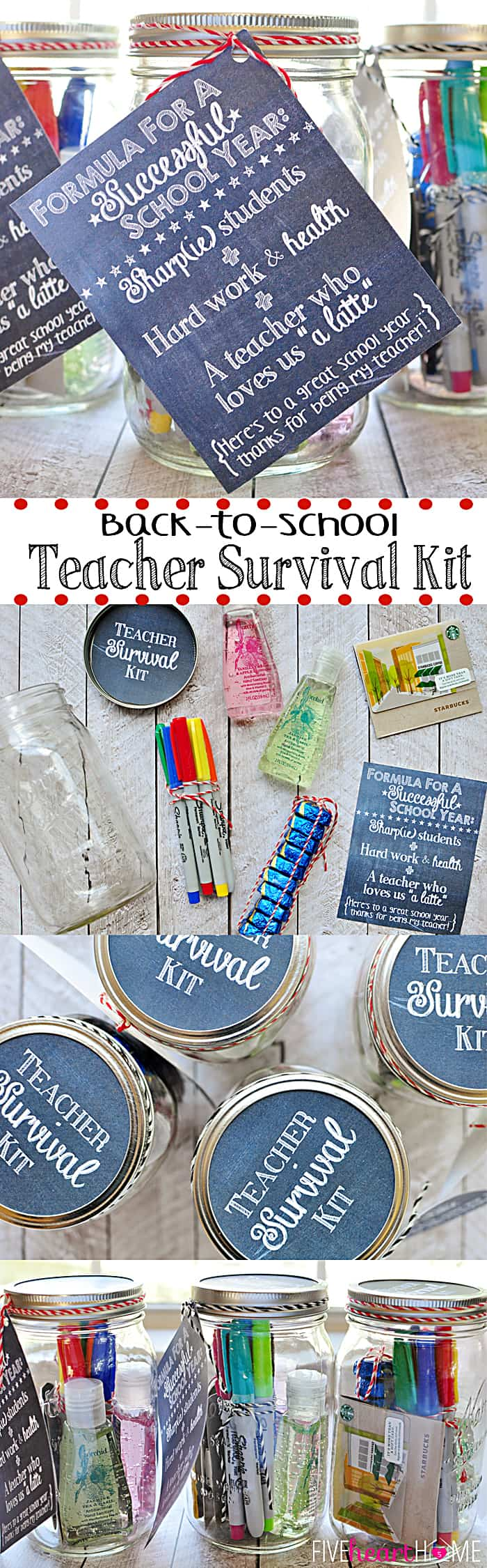 Back to School Teacher Survival Kit Free Printables ~ Mason jar teacher gift featuring Sharpies, hand sanitizer, Starbucks gift card, and chocolate | FiveHeartHome.com