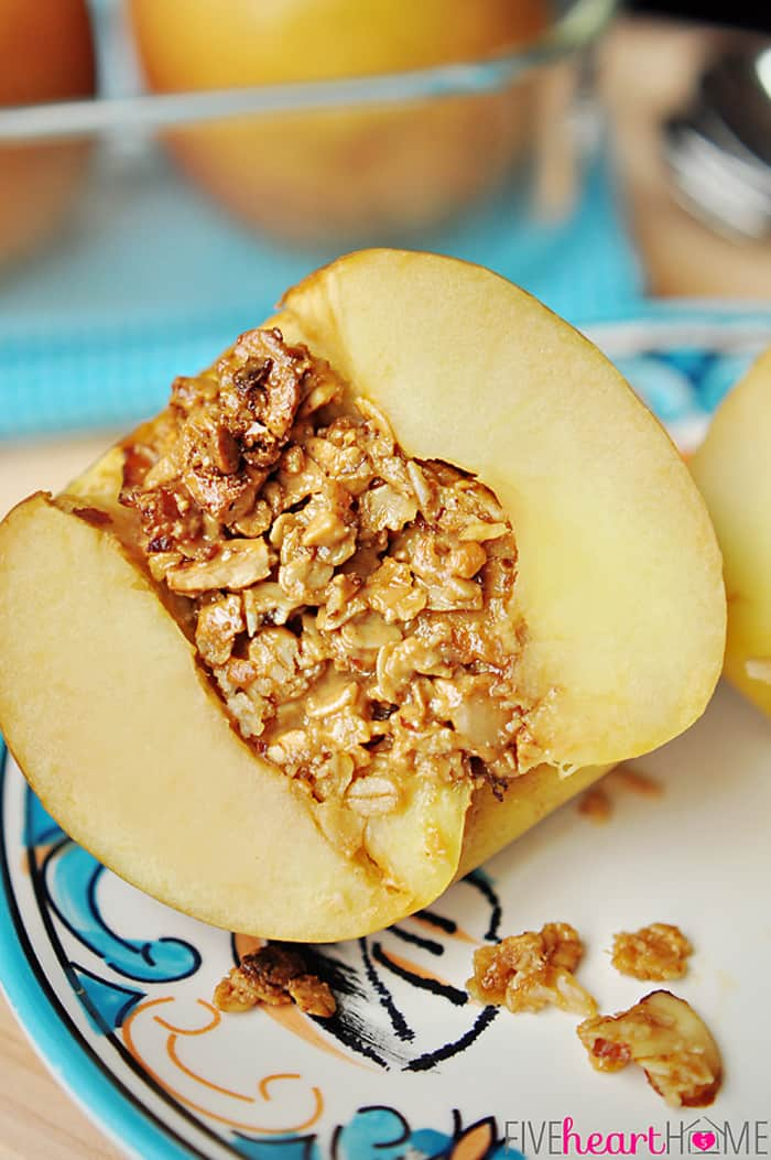 Baked Stuffed Apples with Peanut Butter Granola ~ a tasty breakfast, snack, or dessert!   FiveHeartHome.com