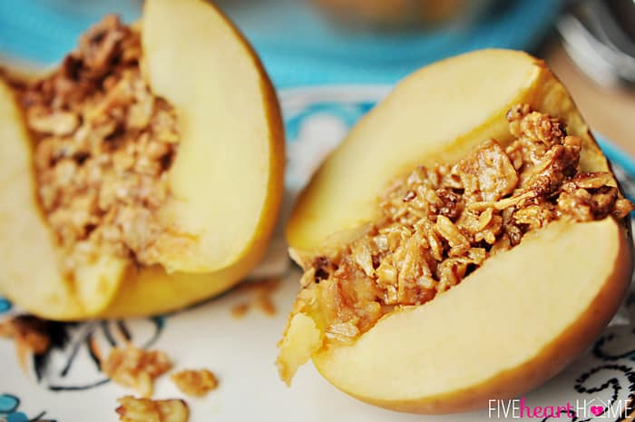 Baked Stuffed Apples with Peanut Butter Granola ~ a tasty breakfast, snack, or dessert! | FiveHeartHome.com