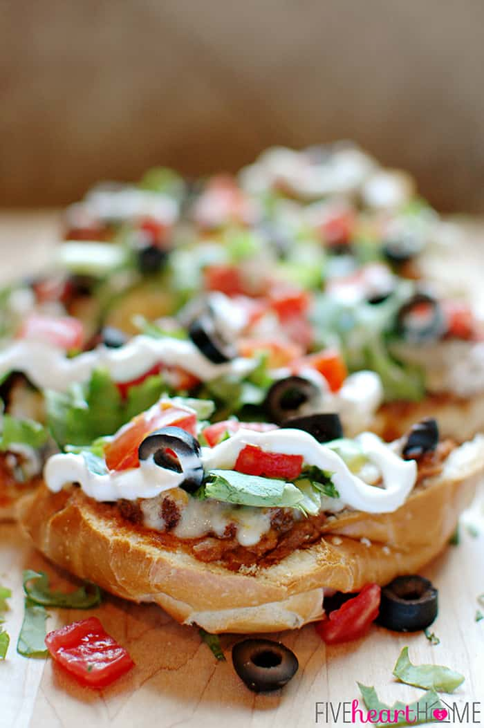 Close-Up French Bread Taco Pizza