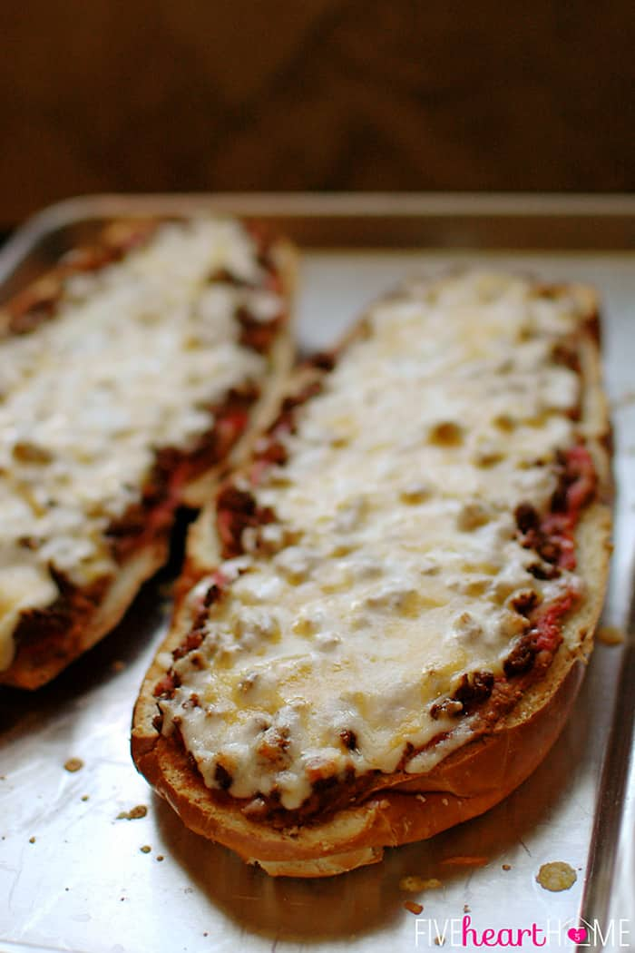 Bread Fresh from the Oven with Refried Beans, Taco Meat and Melted Cheese