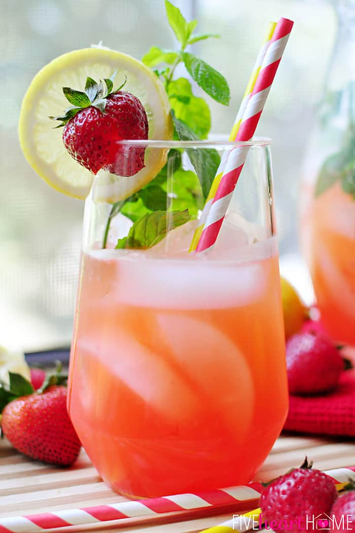 Strawberry Lemonade Mojitos {or} Faux-jitos in a Glass with Ice and Striped Red Straw