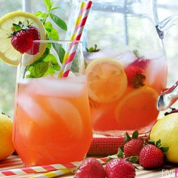 Strawberry Lemonade Mojitos {or} Faux-jitos ~ with fresh strawberries, lemon juice, and mint simple syrup; replace the rum with seltzer for non-alcoholic spritzer | FiveHeartHome.com
