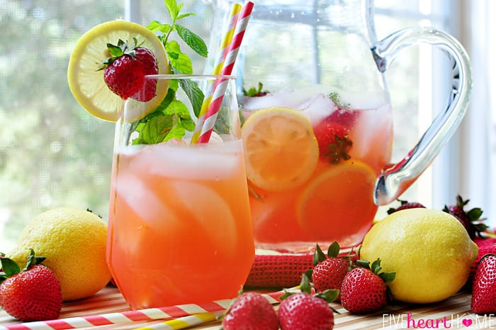 Strawberry Lemonade Mojitos {or} Faux-jitos in Frosty Glass and Pitcher