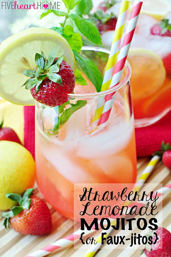 Strawberry Lemonade Mojitos {or} Faux-jitos with Text Overlay
