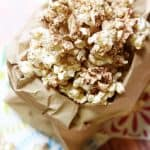 Brown Butter Cinnamon Sugar Popcorn ~ takes 5 minutes to make, tastes like a Snickerdoodle! | FiveHeartHome.com